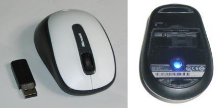 Microsoft Wireless Mouse 2000の正面と裏面