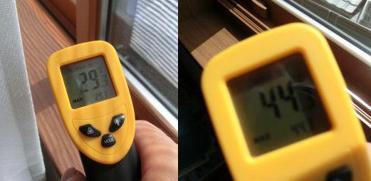 アルミすだれを設置した窓枠の温度比較