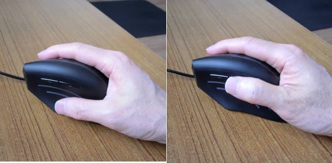 戻るボタンを操作する時の親指